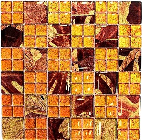 Mosaik Fliese Transluzent Kombination Glasmosaik Crystal Sunrise orange für WAND BAD WC DUSCHE KÜCHE FLIESENSPIEGEL THEKENVERKLEIDUNG BADEWANNENVERKLEIDUNG Mosaikmatte Mosaikplatte
