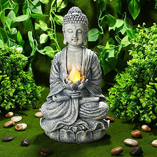 Zen Buddha Solar Sculpture with Lotus Flower Solar Light Garden Waterproof Figurine Decor for Patio, Lawn, Yard, Housewarming Ornament