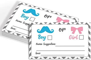 50 Gender Reveal Party Voting Cards, Gender Reveal Party game, Baby Shower Game Cards, Girl or Boy Cast Your Vote Cards, Pink and Blue, Little Man or Miss, 3.5 x 2 Inches.