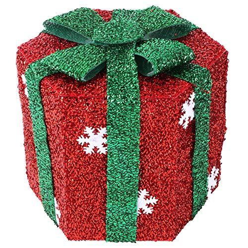 GARNECK Scatola Regalo di Natale Fai da Te Scatola Regalo di Natale Esagonale Scatola Regalo Glitter Festa Scatola Regalo Goodie Bag Box Organizer 15X15cm Rosso