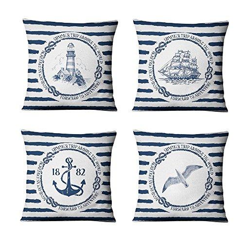 WMWZ Kissen Leinen Baumwolle Überwurf Case Soft Bettwäsche Kissenbezug Für Sofa 45 X 45 cm,4 Stück