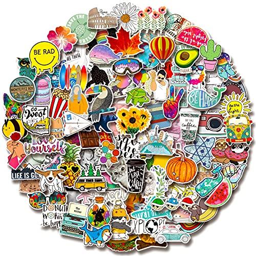 100 PCS Water Bottle Stickers, Laptop Vinyl Cute Waterproof Skateboard Scrapbook Vsco Stickers Aesthetic Car Decals Computer Hydroflask Stickers for Adults Teens Kids, Sticker Packs