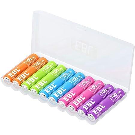 EBL 10 pcs 1.2V AAA Batterie Ricaricabili con Una Scatola Protettiva, Pile Ricaricabili da 1100mAh Ni-MH carica da 1200 volte, Arcobaleno