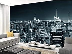 SKTYEE Mural 3D en blanco y negro retro de la ciudad en 3D New York Manhattan Skyline Sala de estar Dormitorio Sofá de pared, 350x245 cm (137.8 por 96.5 in)