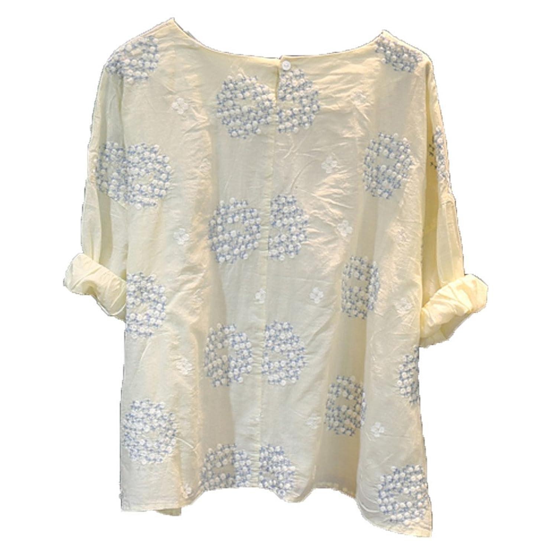 [美しいです] 夏 レディーズ オリジナル 新着 七分袖 リネン シャツ レジャー ゆったり カジュアル デザイン クルーネック 女性 レトロ ストライプ 国立風 花柄 刺繍 通勤