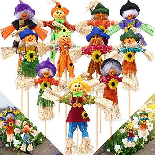 Sumind 11 Piezas Espantapájaros de Otoño Decoraciones de Espantapájaros de Acción de Gracias Espantapájaros de Feliz Cosecha de Pie para Decoraciones de Otoño, Jardín, Hogar, Patio, Porche