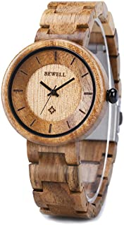 Wood Watches for Women, BEWELL Wooden Handmade Watch with Lightweight Adjustable Wood Band, Natural Casual Fashion Quartz ...
