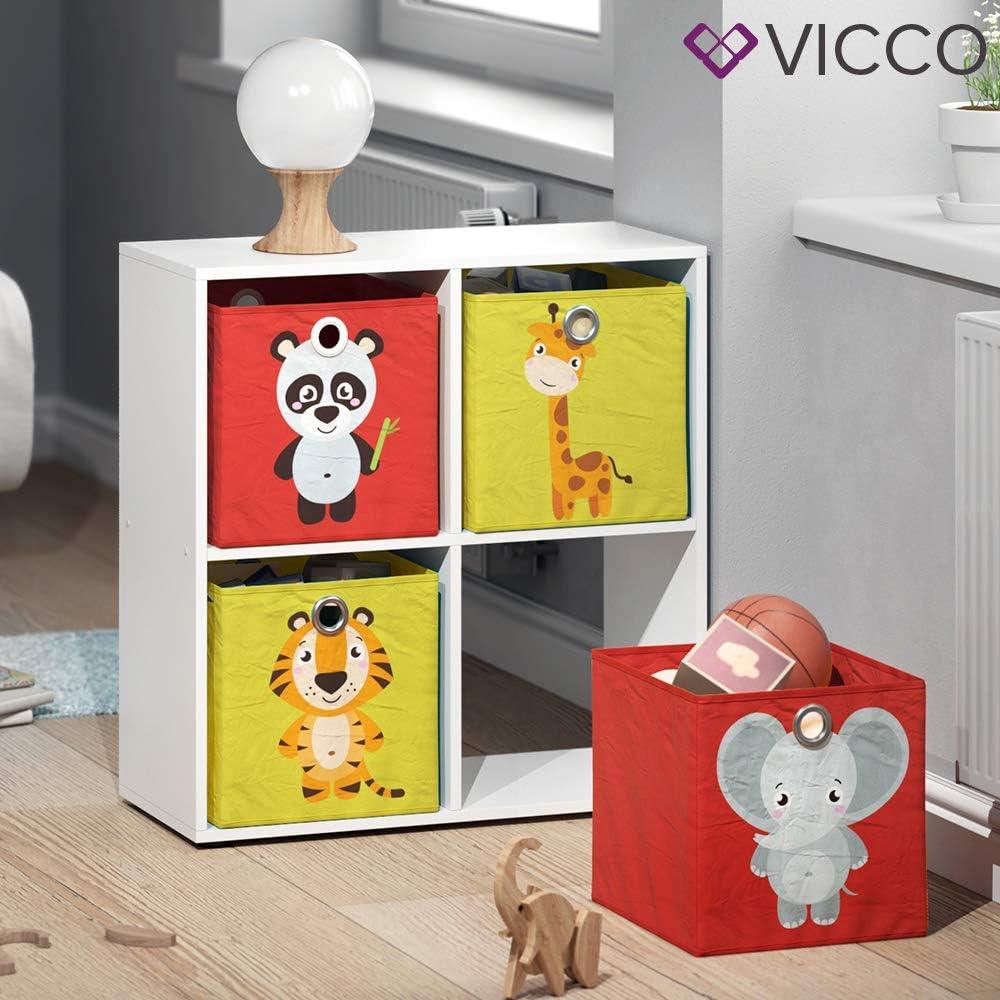 Vicco 2er Set Faltbox 30x30 cm Kinder Faltkiste Aufbewahrungsbox Regalkorb Elefant + Panda//Tiger + Giraffe