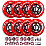 Rollerex VXT500 Inline Skate Wheels (Various Size & Color Options Available) (80mm Rocket Red (8 Wheels w/Bearings, spacers and washers)) -Indoor Outdoor- Intended for Roller Blade Wheel Replacement