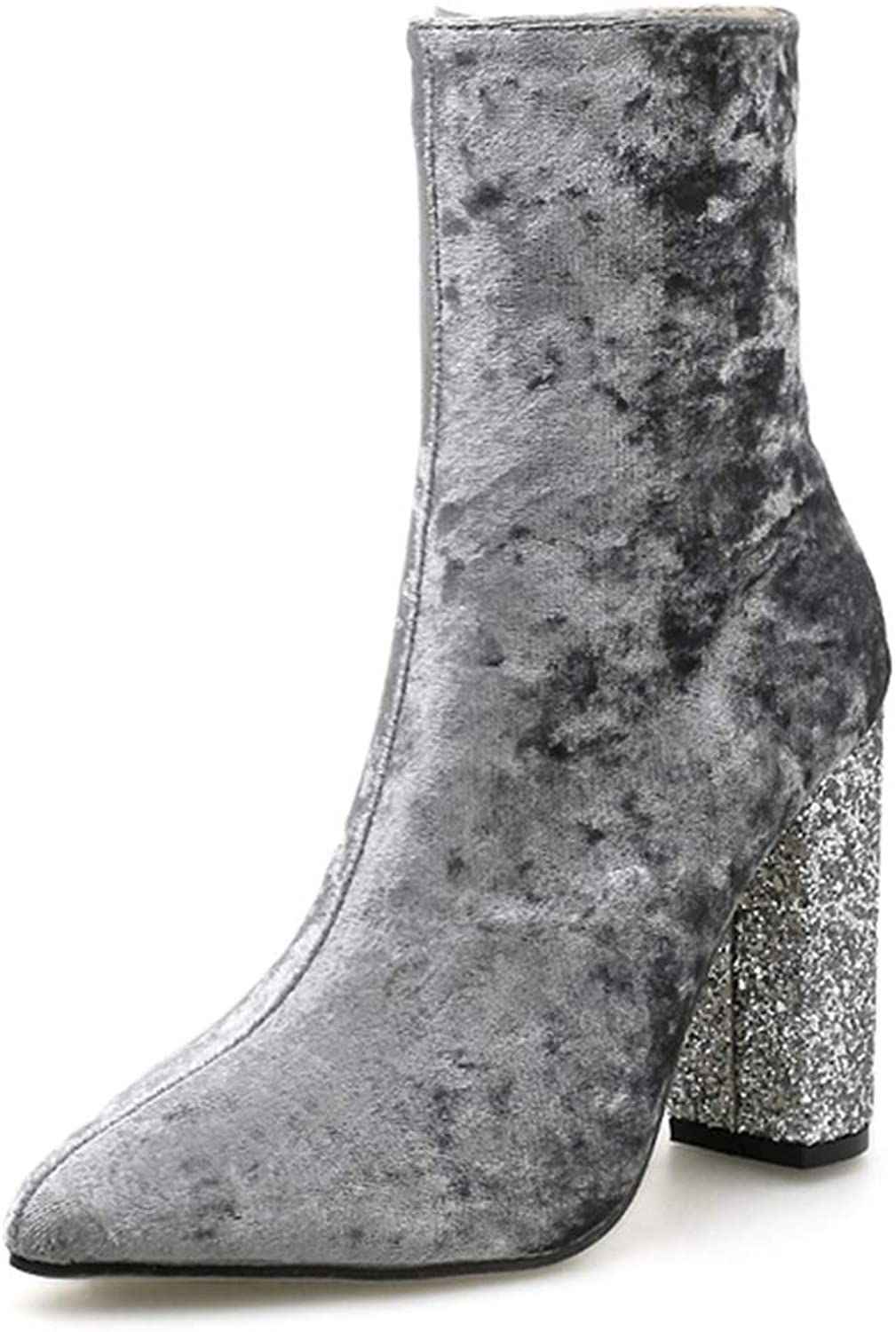 127b34f2b31c6 GIY Women Pointed Toe Ankle Boots Crystal Suede Side Zipper Heel ...