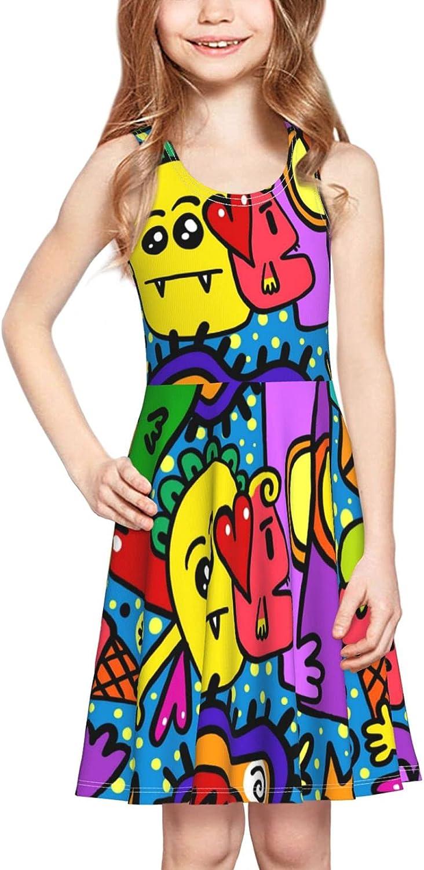 YhrYUGFgf Cartoon Dress Girl's Soft Stretch Casual Skirt Tank Dress
