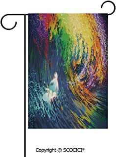 SCOCICI Double Sided Washable Customized Unique 12×18(in) Garden Flag Exotic Surfer in The Ocean Waves with Featured Effects Sports Hobby Graphic,Multicolor,Flag Pole NOT Included