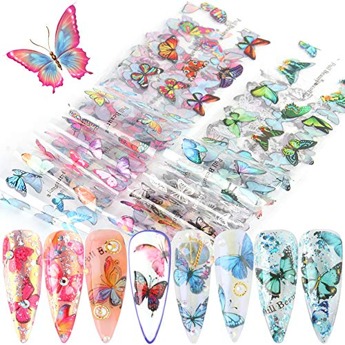 Butterfly Nail Art Foil Transfer Stickers Nail Art Supplies Butterfly Nail Foils Decals Adhesive Design for Nails Decoration Starry Sky Manicure Transfer Tips Butterflies Nail Art DIY (10 Sheets)