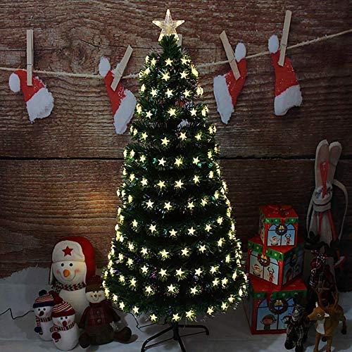 Upplyst fiberoptisk konstgjord julgran, med LED-lampor gångjärn tall Xmas Tree med toppstjärna Holiday dekoration-en 4Ft (120cm) (julgran gåvor)