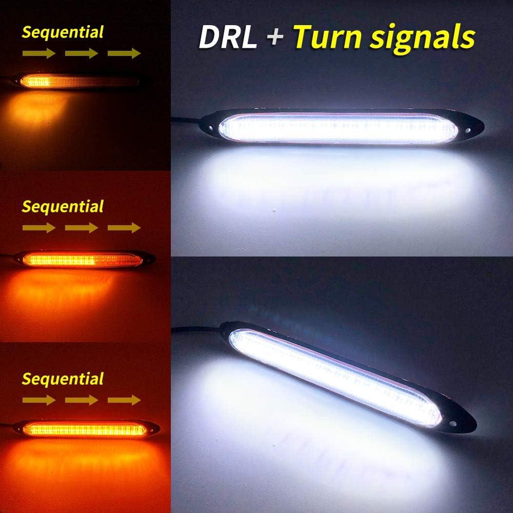 Xinfok blanco /ámbar Switchback Scan Flow LED Drl luz diurna impermeable funciona luz diurna LED luz de la cabeza de la se/ñal de giro 15,5 cm