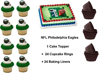 Philidelphia Eagles Football Cake Topper Set Cupcake 24 Pieces plus 24 Cupcake Baking Liners 49 PCS