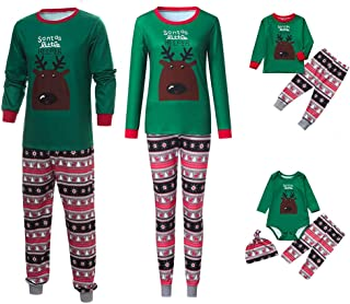 Fossen Kids Pijamas Familiares Navidad Impresión de Cervatillo, Pijama Navidad Familia de Manga Larga Conjunto de Mujer Ho...