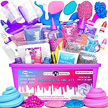 Original Stationery Unicorn Slime Kit Supplies Stuff for Girls Making Slime [Everything in One Box] Kids Can Make Unicorn Glitter Fluffy Cloud Floam Putty Pink