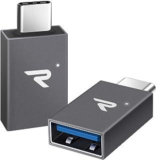 RAMPOW Adaptador USB Tipo C a USB 3.1[OTG] con LED Adaptador USB C -Garantía de por Vida- Compatible para MacBook Pro 2016/2017, Huawei, Samsung, ChromeBook Pixel y más - Gris,2 Unidades