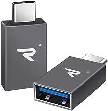 Rampow Adaptador USB Tipo C a USB 3.1[OTG] Aluminio Adaptador -Garantía de por Vida- Compatible para MacBook Pro 2016/2017, Huawei, Samsung, ChromeBook Pixel y dispositivos con USB C - Gris,2 Unidades