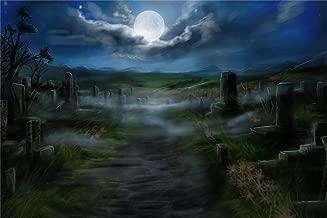 Leowefowa 7x5ft Halloween Creepy Cemetery Backdrop Vinyl Gloomy Moonlight Dark Clouds Misty Dirt Path Scary Gravestones Photography Background Horror Night Zombie Party Banner Child Baby Shoot