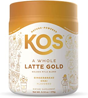 KOS A Whole Latte Gold - Organic Plant-Based Golden Milk Mix - Potent Ayurvedic & Mushroom Tea Blend - Supports Digestion,...