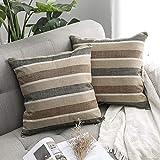 MIULEE 2er Pack Leinenoptik Home Dekorative Streifen Kissenbezug Kissenhülle Kissenbezug für Sofa...