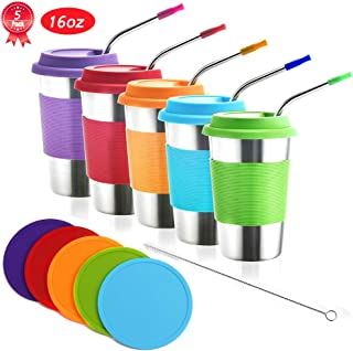 Stainless Steel Kids Cups with Lids and Straws,16oz Metal Kids Straw Cups with Lids and Coaster,Metal Kids Sippy Cups with 5 Silicone Tips Straws,Metal Tumblers with Lids for Kids and Toddler