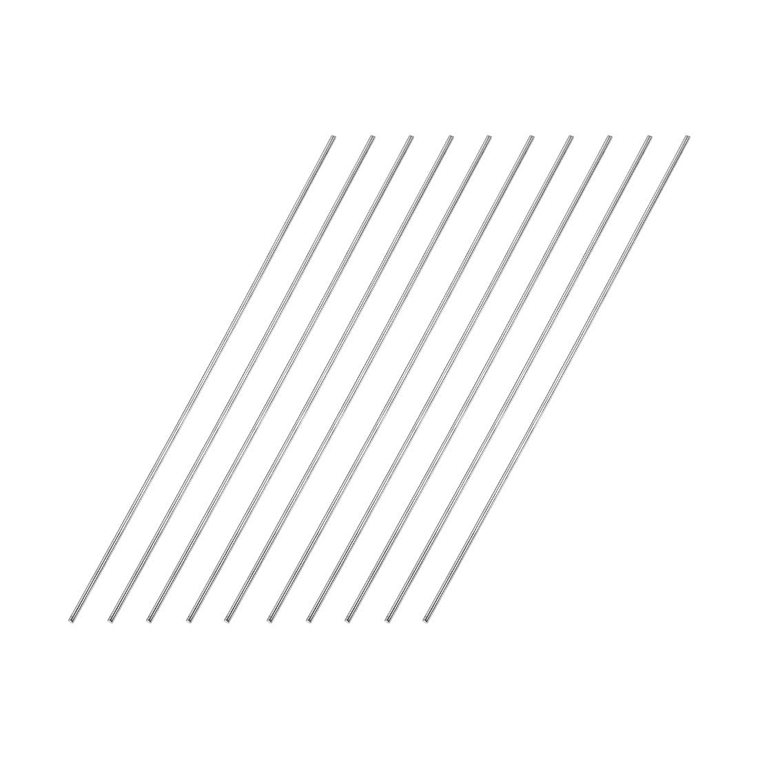 sourcing map 1.5mm x 150mm 304 Stainless Steel Solid Round Rod for DIY Craft 10pcs