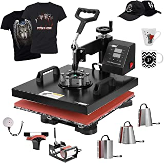 VIVOHOME 8 in 1 Swing Away Clamshell Printing Heat Press Machine for T-Shirt Hat Cap Mug Plate 15 x 15 Inch