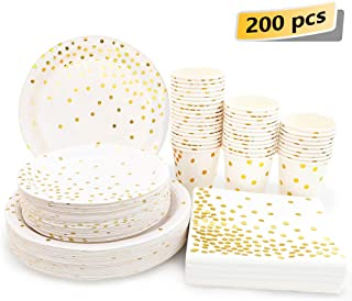 White and Gold Party Supplies - 200PCS Disposable White Paper Plates Dinnerware Set Gold Dots 50 Dinner Plates 50 Dessert Plates 50 9oz Cups 50 Napkins Wedding Birthday Party Baby Shower Christmas