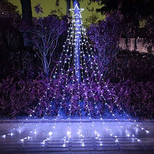FUNIAO Outdoor Christmas Star Lights 317 LED Waterfall Christmas Tree Lights 8 Lighting Modes Outdoor Christmas Decorations Star String Lights for Outside Tree Wall Yard Xmas Wedding Party (White)