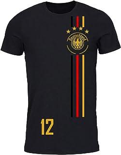 easy4fashion myfashionist T-Shirt Fußball Trikot WM/EM Deutschland Trikot mit Streifen in Verschiedene Grössen für Jungen Mädchen und Erwachsene mit Wunschname UND Wunschnummer