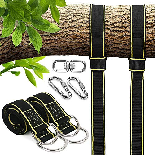 JJDPARTS Tree Swing Straps, Tree Swing Hanging Kit 6ft Length with 2 Safety Lock Snap Carabiner Hooks and Storage Bag Perfect for Tree Swing & Hammocks, Holds Up to 2204lb (Set of 2)