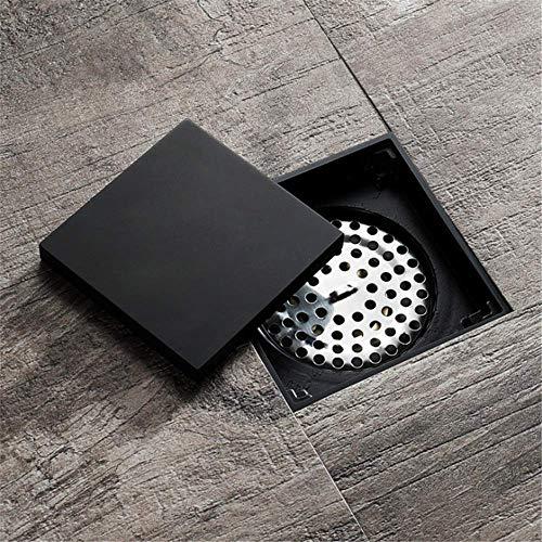 """Bodenablaufabdeckung 4""""Unsichtbarer Messing-Badezimmerbodenablauf mit Abnehmbarer Flachabdeckung Flieseneinsatzfilter Schwarzes Quadrat Duschwaschablauf Duschablauf Haarsieb (Farbe: Schwarz, Größe:"""