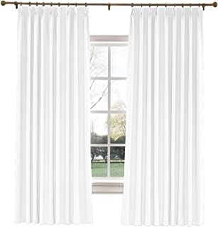 TWOPAGES 52 W x 63 L inch Pinch Pleat Darkening Drapes Faux Linen Curtains Drapery Panel for Living Room Bedroom Meetingroom Club Theater Patio Door (1 Panel),White