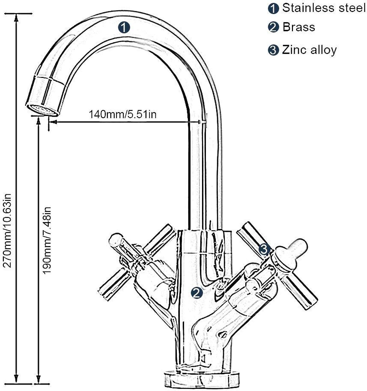 AOLI Einhebelmischer mit Kreuzschlitz aus Edelstahl für Waschtischarmaturen, Mono-Chrom, Messing, für die Küche und das Bad