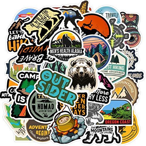 QIANGWEI 50 Stücke Outdoor Camping Reise Aufkleber Wilderness Exploration Survival Aufkleber Aufkleber Reise Koffer Laptop Motorrad Auto Fahrrad Gitarre