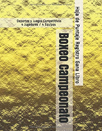 Boxeo Campeonato - Deportes y Juegos Competitivos - 4 Jugadores / 4 Equipos - Hoja de Puntaje Registro Gana Libro