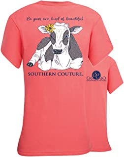 Southern Couture SC Classic Be Beautiful Cow Womens Classic Fit T-Shirt - Coral Silk