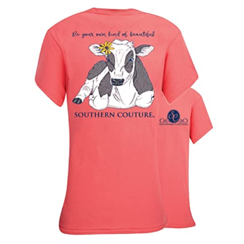 36f80b1d92 Southern Couture SC Classic Be Beautiful Cow Womens Classic Fit T-Shirt -  Coral Silk