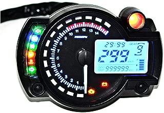 Motorcycle Digital Speedometer Tachometer Odometer 15000 RPM Meter LCD Fuel Gauge DC 12V MAX 299KM/H 7 Color Adjustable