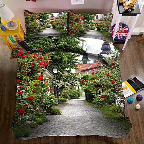 Set De Funda Nórdica Flores de jardín Moderno De Poliéster-Algodón Juego De Cama para Fundas De Almohada con Estampado 3D Funda De Edredón 220cm x 230cm