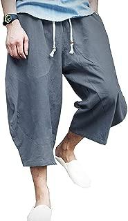 KAMUON Mens Casual Baggy Cotton Linen Pocket Lounge Harem Pants Beach Long Shorts