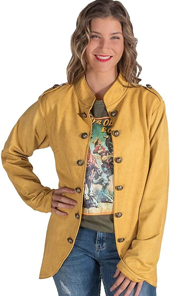 Cowgirl Tuff Western Jacket Womens Military Button Gold H00659