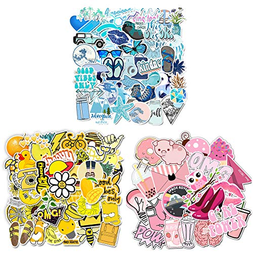 Stickers for Water Bottles, 150 Pcs Aesthetic Stickers for Laptop Skateboard, Waterproof Cool Cute Sticker for Suitcase, Guitar, Hat 3 Style