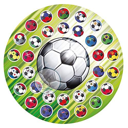 Für den Geburtstag ein Zuckerbild, Oblate mit dem Motiv: Fußball, Essbares Foto für Torten, Tortenbild, Tortenaufleger Ø 16 cm 00017-E (Oblatenpapier)