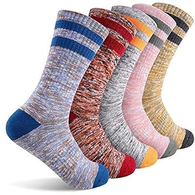 Women's Walking Hiking Socks, FEIDEER 5-Pack Outdoor Recreation Socks Wicking Cushion Crew Socks (5WSL18105-L)