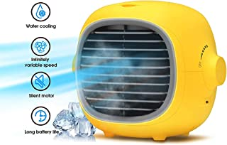Personal Air Cooler,Portable Evaporative Cooler With 3 Fan Speeds,Humidifier Purify Water Cooled Air Conditioner Fan For Home Yellow 21x17x18cm(8x7x7inch)