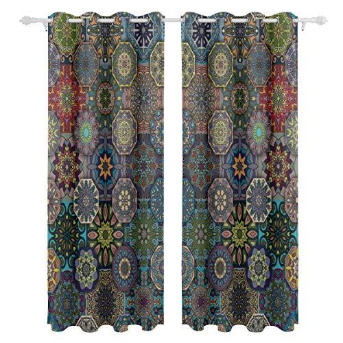 Antike Blumen Mandala Tribal Style einseitig Druck Blackout Vorhänge Vorhänge Fensterbehandlung Duschvorhang Panels Für Schlafzimmer Wohnzimmer Küche Bad 55 X 78 Zoll 2 Stücke